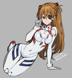 1girl, 2021, arm support, artist request, blue eyes, brown hair, dated, evangelion: 3.0+1.0 thrice upon a time, eyepatch, full body, hair between eyes, hair ornament, long hair, looking at viewer, neon genesis evangelion, plugsuit, rebuild of evangelion, shiny, shiny clothes, shiny hair, simple background, smile, solo, soryu asuka langley, upper body, very long hair