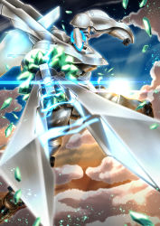 cloud, crystal, debris, electricity, floating, fumizuki homura, glowing, highres, holding, holding sword, holding weapon, mark sein, mecha, no humans, pointing sword, science fiction, sky, solo, soukyuu no fafner, sun, sunlight, sword, weapon