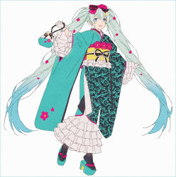 1girl, alternate costume, aqua footwear, aqua kimono, argyle, arm at side, bag, black legwear, black ribbon, blue eyes, blue hair, commentary, dot nose, eyebrows visible through hair, feet up, flat chest, floral print, flower, frilled kimono, frilled sleeves, frills, full body, gloves, gradient, gradient hair, hair flower, hair ornament, hair ribbon, hakusai (tiahszld), hand up, handbag, happy, hatsune miku, highres, holding, holding bag, japanese clothes, kimono, long hair, looking at viewer, multicolored hair, okobo, open mouth, pink flower, pink ribbon, ribbon, rose print, simple background, socks, solo, standing, standing on one leg, symbol commentary, tabi, twintails, unmoving pattern, very long hair, vocaloid, white background, white gloves