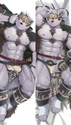 Rule 34 | 1boy, abs, ainu, ainu clothes, animal ears, bara, bare pecs, blush, bulge, chest hair, crotch grab, dakimakura (medium), full body, furry, grausummon, grey fur, grey hair, headband, horkeu kamui (tokyo houkago summoners), jacket, jacket on shoulders, large pectorals, looking at viewer, lying, male focus, male pubic hair, muscular, muscular male, navel, nipples, on back, on side, pelvic curtain, penis peek, pubic hair, pulled by self, scar, scar on chest, scar on leg, short hair, silver hair, stomach, tail, thick thighs, thighs, tokyo houkago summoners, two-tone fur, underwear pull, white fur, wolf boy, wolf ears, wolf tail, yellow eyes