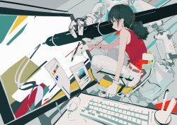 1girl, aamond, absurdres, artisul, belt, black hair, earrings, gloves, grey eyes, highres, jewelry, keyboard (computer), long hair, mouse (computer), original, pants, ponytail, profile, red shirt, screen, shirt, shirt tucked in, sleeveless, sleeveless shirt, solo, white gloves, white pants