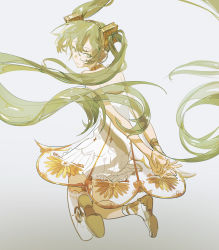1girl, absurdres, armlet, arms behind back, asymmetrical legwear, bare shoulders, bracelet, closed mouth, dot nose, dress, eyelashes, facing viewer, feet up, floating hair, from behind, full body, green eyes, green hair, grey background, hair between eyes, half-closed eyes, hatsune miku, headphones, highres, jewelry, light smile, long hair, looking afar, looking back, miku symphony (vocaloid), neck ring, own hands together, see-through, see-through dress, shiny, shiny hair, shoe soles, short dress, simple background, single thighhigh, solo, strapless, strapless dress, tansiki, tareme, thighhighs, translucent hair, twintails, very long hair, vocaloid, white dress, white legwear