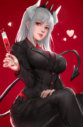 1girl, absurdres, alcohol, black neckwear, black pants, black shirt, breasts, champagne flute, cup, demon girl, demon horns, demon tail, drinking glass, feet out of frame, hand on own leg, heart, helltaker, highres, horns, large breasts, long hair, looking at viewer, lucifer (helltaker), necktie, pants, red background, red eyes, red shirt, sherylnome, shirt, simple background, sitting, solo, tail, white hair, white horns