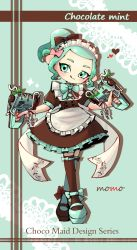 1girl, :q, apron, artist name, back bow, black bow, black dress, black footwear, black legwear, bow, bow legwear, bowtie, closed mouth, commentary request, doily, dress, dual wielding, english text, frilled dress, frills, full body, glooga dualies (splatoon), green eyes, green footwear, green hair, green legwear, green neckwear, hair bow, heart, highres, holding, holding weapon, licking lips, looking at viewer, maid, maid apron, maid headdress, makeup, mary janes, mascara, medium dress, mismatched footwear, mismatched legwear, mokokoiro, nintendo, octoling, pink bow, pointy ears, ponytail, puffy short sleeves, puffy sleeves, shadow, shoes, short hair, short sleeves, signature, smile, solo, splatoon (series), standing, tentacle hair, thighhighs, tongue, tongue out, weapon, white apron