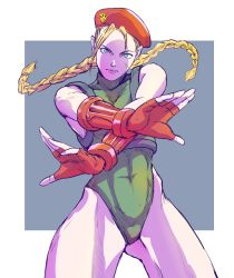 1girl, antenna hair, bb9 m, beret, blonde hair, blue eyes, border, braid, cammy white, chest harness, commentary request, covered abs, covered navel, crossed wrists, facial scar, fighting stance, fingerless gloves, fingernails, gloves, green leotard, grey background, harness, hat, highleg, highleg leotard, highres, leotard, long braid, long hair, looking at viewer, outside border, pose, red gloves, red headwear, scar, scar on cheek, scar on face, serious, shaded face, solo, standing, street fighter, street fighter v, thick thighs, thighs, twin braids, white border