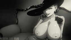 Rule 34 | 1girl, alcina dimitrescu, black hair, breasts, dress, flou, flower, gloves, highres, jewelry, large breasts, large hat, looking at viewer, naughty face, necklace, nipples, pale skin, parted lips, resident evil, resident evil village, short hair, sitting, solo, white dress