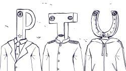 3boys, absurdres, crossover, eyes, formal, greyscale, highres, hood, hood down, hooded jacket, hoodie, horseshoe, idolmaster, jacket, kantai collection, kozzy.ta, lips, male focus, military, military uniform, monochrome, multiple boys, multiple crossover, necktie, p-head producer, sharp teeth, simple background, suit, t-head admiral, teeth, u-head trainer, umamusume, uniform, upper body