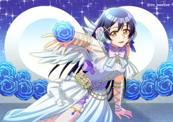 1girl, angel wings, arm ribbon, artist name, artist request, bangs, bare legs, bare shoulders, birthday, blue flower, blue hair, blue ribbon, blush, bow, bowtie, bracelet, breasts, buttons, center frills, clothing cutout, co noelize, detached arms, detached legs, detached sleeves, dress, eyebrows, female focus, flower, frilled dress, frills, hair between eyes, hair flower, hair ornament, hair ribbon, hairclip, happy birthday, headset, heart, holding, holding flower, jewelry, lace, lace-trimmed dress, lace trim, leg garter, long hair, looking at viewer, love live!, love live! school idol festival, love live! school idol project, medium breasts, microphone, nail, nail polish, night, night sky, parted lips, pink bow, pink nail polish, pink nails, ribbon, rose, sash, shirt, shorts, shorts under skirt, shoulder cutout, skirt, sky, sleeveless, sleeveless dress, sleeveless shirt, sleeveless turtleneck, smile, solo, sonoda umi, sparkle, striped, striped bow, thighlet, turtleneck, white detached collar, white flower, white rose, white skirt, white wings, wings, wrist ribbon, x hair ornament, yellow eyes