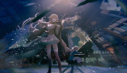 2girls, absurdres, aritsuno, arm up, asymmetrical footwear, asymmetrical legwear, background text, bangs, beige jacket, belt, bird, black footwear, blonde hair, blue coat, blue eyes, blue ribbon, blue sky, boots, building, ceiling, ceiling light, closed mouth, cloud, cloudy sky, coat, commentary, debris, door, dress, duet, english commentary, english text, eyebrows, eyebrows visible through hair, feathers, floor, full body, fur-trimmed jacket, fur trim, girls frontline, glasses, gloves, grand piano, hair ornament, hair ribbon, head tilt, highres, holding, holding instrument, indoors, instrument, jacket, knee boots, kneehighs, light rays, long hair, long skirt, looking at object, m1903 springfield (girls frontline), multiple girls, music, off shoulder, ots-14 (girls frontline), outdoors, parted bangs, piano, piano bench, pigeon, playing instrument, pleated skirt, red belt, red eyes, red legwear, ribbon, ruins, shade, shadow, shiny, shiny clothes, sidelocks, sitting, skirt, sky, sleeveless, standing, striped, striped legwear, sunlight, tagme, thighhighs, very long hair, violin, waistcoat, wavy hair, white bird, white dress, white gloves, white skirt, window