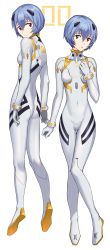 1girl, absurdres, alternate costume, ayanami rei, bangs, blue hair, bodysuit, breasts, commentary, hair between eyes, hand on own chest, highres, interface headset, knees together feet apart, looking at viewer, looking back, multiple views, neon genesis evangelion, parted lips, plugsuit, raised eyebrows, red eyes, short hair, simple background, small breasts, thigh gap, toketa (toketa15), white background, white bodysuit