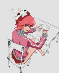 1girl, ass, blush, buruma, chair, drawing, eyebrows visible through hair, hat, highres, jakuzure nonon, kill la kill, looking at viewer, looking back, open mouth, partially colored, pink eyes, pink hair, pink track suit, red buruma, shiny, shiny hair, short hair, simple background, sitting, solo, table, track suit, white background