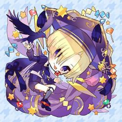 1boy, :p, bangs, bird, black footwear, blonde hair, blue shorts, candy, cape, character request, chibi, eyes visible through hair, food, grey legwear, hair over one eye, hat, hibi89, holding, holding candy, holding food, holding lollipop, houndstooth background, juliet sleeves, kneehighs, lollipop, long sleeves, looking at viewer, merc storia, mortarboard, parted bangs, puffy sleeves, purple cape, purple eyes, purple headwear, raven (animal), shoes, short hair, shorts, smile, solo, star (symbol), tassel, tongue, tongue out