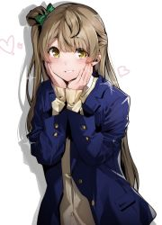 1girl, bangs, blazer, blue jacket, blue nails, blush, bow, brown cardigan, brown hair, buttons, cardigan, drop shadow, eyebrows visible through hair, fingernails, green bow, grin, hair bow, hands on own cheeks, hands on own face, hands up, heart, highres, jacket, long hair, long sleeves, looking at viewer, love live!, love live! school idol project, minami kotori, multicolored, multicolored nails, nail polish, nakano maru, one side up, open clothes, open jacket, orange nails, otonokizaka school uniform, pocket, school uniform, simple background, sleeves past wrists, smile, solo, sparkle, upper body, white background, yellow eyes