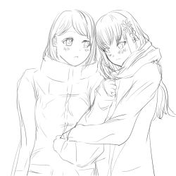 2girls, japanese clothes, miko, multiple girls, original, yuri