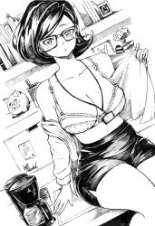 1girl, absurdres, bangs, borrowed character, bra, breasts, coffee maker (object), collarbone, commentary, desk, english commentary, glasses, greyscale, highres, holding, holding clothes, holding shirt, ink (medium), jewelry, large breasts, looking at viewer, mole, mole on breast, monochrome, office lady, on desk, open clothes, open shirt, original, pencil skirt, piggy bank, ravenhart, shirt, short hair, single earring, sitting, sitting on desk, skirt, solo, traditional media, underwear