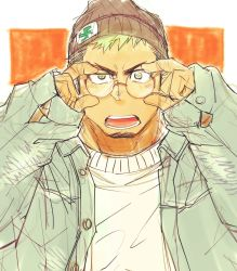 1boy, alternate costume, beanie, black hair, blush, casual, contemporary, dark skin, dark skinned male, facial hair, glasses, goatee, green eyes, green hair, hat, highres, jacket, male focus, multicolored hair, open clothes, open jacket, open mouth, round eyewear, short hair, sketch, solo, sweater, taurus mask, tokyo houkago summoners, two-tone hair, yakisoba ohmori