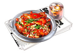 crab, crayfish, cup, drink, food, food focus, garnish, glass, ice, ice cube, lotus root, newspaper, no humans, original, realistic, sauce, seafood, shrimp, simple background, sparkle, spring onion, still life, vegetable, water, white background, xiaoma