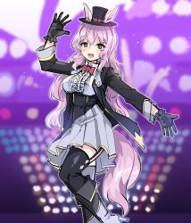 1girl, :d, absurdres, animal ears, arm up, bangs, black footwear, black gloves, black headwear, black jacket, black legwear, blurry, blurry background, blush, boots, bow, bowtie, breasts, center frills, collared shirt, commentary request, depth of field, ears through headwear, eyebrows visible through hair, feet out of frame, frills, garter straps, gloves, green eyes, grey footwear, grey skirt, hair between eyes, harigane shinshi, hat, high-waist skirt, high heel boots, high heels, highres, horse ears, horse girl, horse tail, jacket, long hair, medium breasts, mini hat, mini top hat, open clothes, open jacket, open mouth, outstretched arm, pink hair, pleated skirt, red neckwear, shirt, skirt, smile, solo, standing, standing on one leg, tail, thighhighs, thighhighs under boots, top hat, umamusume, very long hair, white shirt