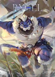 1boy, abs, animal ears, bara, bare pecs, beard, blue fur, borrowed character, character name, commission, crrispy shark, facial hair, fighting stance, flower, full body, furry, harness, highres, holding, holding sword, holding weapon, large pectorals, looking at viewer, male focus, mature male, motion blur, muscular, muscular male, nipples, original, pelvic curtain, petals, plant, short hair, sky, solo, stomach, sword, tail, thick thighs, thighs, tiger boy, tiger ears, tiger tail, tree, two-tone fur, weapon, white fur, white hair, wind