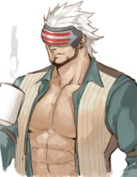 1boy, abs, alternate pectoral size, bara, beard, character request, copyright request, covered eyes, cropped torso, cup, facial hair, gomtang, green shirt, large pectorals, male cleavage, male focus, mature male, mug, muscular, muscular male, open clothes, open shirt, shirt, short hair, solo, stomach, white hair