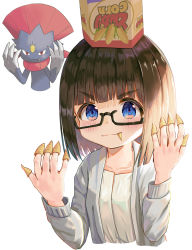 > <, 1girl, bangs, black-framed eyewear, black hair, blue eyes, blush, bugles, bugles on fingers, closed mouth, commentary request, creatures (company), cropped torso, eyebrows visible through hair, food on finger, game freak, gen 4 pokemon, glasses, grey jacket, highres, jacket, looking at viewer, mimikaki (men bow), nintendo, on head, open clothes, open jacket, original, pokemon, pokemon (creature), semi-rimless eyewear, shirt, simple background, smile, under-rim eyewear, upper body, v-shaped eyebrows, weavile, white background, white shirt