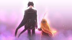 2girls, black cape, black clothes, black gloves, black hair, black jacket, black pants, blonde hair, blurry, blurry background, brown headwear, cape, commentary request, from behind, gloves, hat, hat feather, height difference, jacket, long hair, long sleeves, lyza, made in abyss, multicolored hair, multiple girls, ozen, pants, red jacket, short hair, squarevr, standing, two-tone hair, white hair, wind