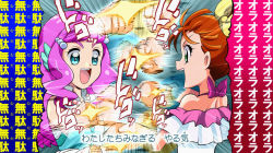 2girls, back, bare shoulders, blouse, blue eyes, bow, clenched hands, commentary request, crop top, frilled blouse, from side, green eyes, hair bow, hair strand, halterneck, head fins, heart, heart in eye, jojo no kimyou na bouken, laura (precure), looking at another, mermaid, monster girl, motion lines, multiple girls, natsuumi manatsu, off shoulder, open mouth, orange hair, parody, pearl hair ornament, pink blouse, pink hair, precure, rapid punches, round teeth, shoulder blades, side ponytail, smile, symbol in eye, teeth, thick eyebrows, tomo5656ky, translation request, tropical-rouge! precure, upper body, upper teeth, white blouse, yellow bow