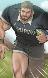 1boy, bara, beard, blue shorts, brk 603, bulge, collared shirt, facial hair, feet out of frame, grey shirt, highres, large pectorals, light brown hair, looking at viewer, male focus, mature male, motion blur, motion lines, muscular, muscular male, one eye closed, original, rugby, rugby ball, rugby uniform, running, shirt, short hair, shorts, solo, sportswear, thick thighs, thighs, veins