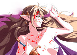 Rule 34   1girl, automatic giraffe, blonde hair, blood, blood on breasts, blood on face, bloody weapon, breasts, breasts apart, brown hair, circlet, commentary, earrings, english commentary, erect nipples, holding, holding sword, holding weapon, jewelry, long hair, looking at viewer, lying, nintendo, nose, on back, pasties, pointy ears, princess zelda, reverse grip, small breasts, solo, sword, the legend of zelda, the legend of zelda: a link between worlds, topless, triangle earrings, triforce, weapon, yandere