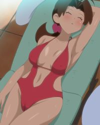 1girl, ahoge, arm behind head, arm up, armpits, bare shoulders, beach chair, blush, breasts, breasts apart, brown hair, cameltoe, casual one-piece swimsuit, center opening, creatures (company), delia ketchum, erect nipples, eyes closed, female focus, flipped hair, from above, game freak, groin, highres, hip focus, large breasts, leaning back, legs, long hair, low ponytail, lying, makino tomoyasu, milf, navel, nintendo, nose blush, one-piece swimsuit, outdoors, parted lips, pokemon, pokemon (anime), pokemon sm (anime), pussy, red swimsuit, shade, side cutout, sleeping, solo, sweat, swimsuit, thighs, tile floor, tiles