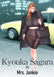 1girl, asymmetrical hair, bag, black bag, black coat, black skirt, blurry, blurry background, blush, breasts, brown hair, coat, earrings, english text, erect nipples, eyelashes, female focus, full body, hair over one eye, half-closed eyes, highres, huge breasts, jewelry, lips, long hair, midriff, milf, mrs junkie, navel, outdoors, pencil skirt, ring, sagara kyouka, shiny, shiny clothes, shiny hair, shiny skin, shirt, skin tight, skirt, solo, solo focus, sparkle, standing, sweater, tatsunami youtoku, taut clothes, taut shirt, taxi, thick lips, turtleneck, turtleneck sweater, walking
