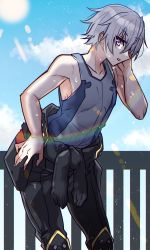 1boy, bangs, bare arms, bare shoulders, black bodysuit, blue sky, bodysuit, cloud, collarbone, commentary request, day, eyebrows visible through hair, grey tank top, hand on hip, hand on own face, haoro, highres, ledo (suisei no gargantia), lens flare, looking at viewer, male focus, outdoors, parted lips, pilot suit, pink eyes, railing, shiny, shiny hair, sideways glance, silver hair, sketch, sky, solo, standing, suisei no gargantia, sunlight, sweat, tank top