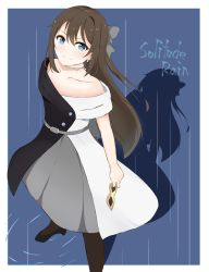 1girl, aqua eyes, artist name, artist request, back bow, bare shoulders, belt, birthday, black dress, black footwear, black gloves, black high heels, black legwear, black skirt, blue background, blue eyes, blush, bow, breasts, brown hair, buttons, choker, cleavage, collarbone, dress, drop earrings, earrings, female focus, gloves, grey belt, grey bow, grey skirt, hair between eyes, hair bow, happy birthday, high heels, high ponytail, highres, holding, holding mask, jewelry, lace, lace gloves, long hair, looking at viewer, love live!, love live! nijigasaki high school idol club, love live! school idol festival, mask, multicolored, multicolored clothes, necklace, off-shoulder dress, off shoulder, ousaka shizuku, pantyhose, parted lips, ponytail, sidelocks, skirt, sleeveless, sleeveless dress, small breasts, smile, solitude rain (love live!), solo, two-tone dress, white bow, white dress, white skirt