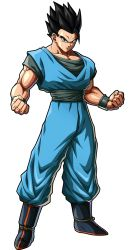 1boy, arms at sides, black eyes, black hair, dougi, dragon ball, dragon ball fighterz, dragonball z, full body, highres, light smile, lock, looking at viewer, male focus, muscular, official art, recolor, recolored, short hair, simple background, smile, son gohan, spiked hair, standing, transparent background