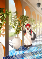 1girl, absurdres, bangs, black dress, black footwear, closed mouth, dragon girl, dragon tail, dress, hanging light, highres, horns, large tail, long hair, long sleeves, maid, multiple horns, original, plant, pointy ears, potted plant, red eyes, red hair, red neckwear, reesen, shiny floor, solo, standing, tail, twintails, white legwear