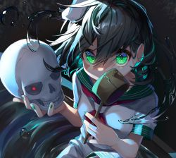 1girl, absurdres, black hair, breasts, commentary request, covered mouth, dark background, floating hair, glowing, glowing eye, green eyes, gunjou row, hair between eyes, hat, highres, holding, holding ladle, holding skull, knee up, ladle, looking at viewer, murasa minamitsu, neckerchief, red eyes, red neckwear, ripples, sailor collar, sailor hat, sailor shirt, shirt, short hair, short sleeves, shorts, skull, small breasts, solo, tilted headwear, touhou, upper body, water, white headwear, white shirt, white shorts