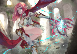 1girl, absurdres, armor, armored boots, ass, bangs, blue eyes, boots, breasts, cape, character request, cleavage, copyright request, eyes visible through hair, gauntlets, highres, holding, holding scepter, holding weapon, large breasts, long hair, looking at viewer, outdoors, parted bangs, pink hair, pleated skirt, pointy ears, red cape, scepter, skirt, solo, vardan, weapon, white skirt