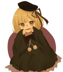 1girl, bangs, black headwear, blonde hair, blunt bangs, child, commentary request, contrapposto, dress, fate (series), green dress, hands on own cheeks, hands on own face, hands up, hat, highres, long sleeves, looking at viewer, lord el-melloi ii case files, open mouth, reines el-melloi archisorte, ribbon, rorikon shinshi, simple background, sleeves past wrists, smile, solo, tilted headwear, upper teeth, white background, wide sleeves