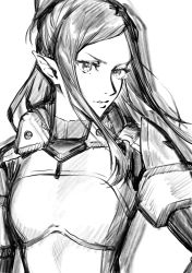 1girl, absurdres, bangs, breasts, greyscale, hair behind ear, hand on hip, highres, long hair, macross, macross delta, medium breasts, mirage farina jenius, monochrome, mosako, parted bangs, parted lips, pilot suit, pointy ears, short ponytail, sketch, solo, tied hair, white background