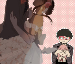 2boys, 2girls, afro, ahoge, alex (sandora), ania (spy x family), arm around waist, black dress, black hair, black neckwear, black suit, blurry, blurry foreground, breasts, child, closed mouth, commentary, covering another's eyes, cowboy shot, dress, elbow gloves, expressionless, flower, formal, frankie (spy x family), frilled dress, frills, glasses, gloves, hair flower, hair ornament, hairband, hand holding, head out of frame, horn ornament, horns, hug, jitome, long sleeves, looking at another, medium breasts, medium hair, multiple boys, multiple girls, neck ribbon, necktie, off-shoulder dress, off shoulder, outline, pink background, pink hair, polka dot, polka dot background, red-framed eyewear, red ribbon, ribbon, short hair, sidelocks, simple background, smile, spy x family, striped, striped neckwear, striped suit, suit, tasogare (spy x family), vertical-striped jacket, wedding dress, white dress, white gloves, yoru briar