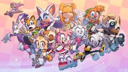 6+girls, absurdres, adventures of sonic the hedgehog, amy rose, animal ears, bat ears, bat wings, beak, blaze the cat, breasts, bunny ears, bunny girl, cat ears, cat girl, character request, commentary, cream the rabbit, english commentary, evan stanley, eyelashes, eyeshadow, eyewear on head, fang, flat chest, freckles, furry, group picture, highres, hover board, jumping, long eyelashes, makeup, marine the raccoon, multiple girls, official art, rouge the bat, second-party source, small breasts, sonic (series), sunglasses, tangle the lemur, tikal the echidna, vanilla the rabbit, wave the swallow, whisper the wolf, wings, women's day
