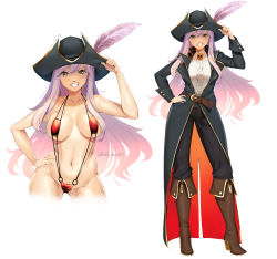 Rule 34 | 1girl, belt, bikini, black coat, black pants, blush, boots, breasts, breasts apart, brown belt, brown footwear, center frills, coat, collarbone, commission, contrapposto, cowboy shot, frilled shirt, frills, full body, grin, hair between eyes, hat, hat feather, highres, knee boots, large breasts, light purple hair, long hair, long sleeves, looking at viewer, lulu-chan92, micro bikini, navel, o-ring, o-ring swimsuit, original, pants, pirate, pirate hat, red swimsuit, shirt, simple background, skull, slingshot swimsuit, smile, standing, stomach, strap gap, swimsuit, twitter username, very long hair, white background, white shirt, yellow eyes