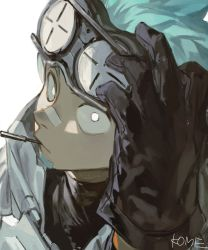1boy, aqua hair, arknights, beard, black gloves, dark skin, ethan (arknights), facial hair, frischenq, gloves, goggles, goggles on head, looking at viewer, pointy ears, solo, white eyes