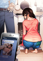 1girl, 2boys, absurdres, ass, barefoot, belt, belt buckle, black bra, black panties, black pants, bra, bralines, brown eyes, brown hair, buckle, cellphone, commentary request, denim, dojirou, from behind, frying pan, hair over shoulder, highres, holding, holding phone, huge filesize, indoors, jeans, jewelry, kitchen, ladle, long sleeves, looking at viewer, looking back, motion lines, multiple boys, panties, pants, phone, pink shirt, pipes, ring, shirt, smartphone, squatting, striped, striped shirt, sweat, translation request, trembling, underwear, underwear only, wedding band, white shirt