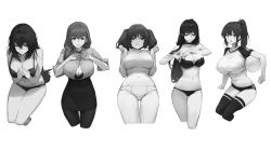 Rule 34 | 5girls, absurdres, arm support, bangs, black choker, bra, breasts, buruma, button gap, choker, cleavage, closed mouth, collared shirt, crop top, curvy, dokshuri, eyebrows visible through hair, from above, from below, greyscale, grin, hair between eyes, hair over shoulder, high-waist skirt, high ponytail, highres, large breasts, long hair, miniskirt, monochrome, multiple girls, navel, open mouth, original, panties, shirt, short shorts, shorts, sidelocks, sitting, skirt, sleeves rolled up, smile, strapless, strapless bra, thighhighs, thighs, twintails, underboob, underwear, volleyball