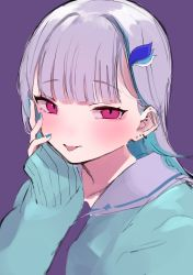 1girl, absurdres, bangs, blue hair, blush, cardigan, collarbone, colored inner hair, ear piercing, earrings, ears, eyebrows visible through hair, fingernails, hair ornament, hand on own face, highlights, highres, jewelry, kurosaki 9631, lize helesta, looking at viewer, multicolored hair, nijisanji, piercing, purple background, red eyes, simple background, solo, tongue, tongue out, white hair