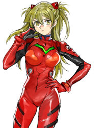 1girl, 203wolves, blonde hair, blush, bodysuit, breasts, breasts apart, cosplay, cowboy shot, floating hair, hair between eyes, hand on hip, headgear, highres, long hair, looking at viewer, medium breasts, neon genesis evangelion, open mouth, plugsuit, red bodysuit, shiny, shiny hair, signature, simple background, solo, soryu asuka langley, souryuu asuka langley (cosplay), standing, tenjouin asuka, white background, yu-gi-oh!, yu-gi-oh! gx