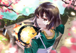 1girl, apron, bangs, brown eyes, brown hair, cherry blossoms, cleaver, cooking, food, fried rice, green shirt, highres, holding, holding spatula, hood, knife, lipstick, looking at viewer, looking back, makeup, original, parted lips, shirt, short hair, smile, solo, spatula, stove, vardan, white apron, wok