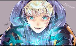 apex legends, artist name, black gloves, blonde hair, blue eyes, blue sweater, character name, chromatic aberration, close-up, electricity, eyebrows behind hair, facial scar, gloves, grey background, hood, hood up, jacket, lichtenberg figure, open hands, open mouth, orange jacket, osushimax, ribbed sweater, scar, scar on cheek, scar on face, smile, sweater, turtleneck, upper body, wattson (apex legends)