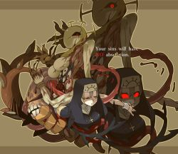 1girl, 2016, black sclera, blonde hair, brown background, colored sclera, cross, cross necklace, crown, double (skullgirls), dual persona, extra eyes, extra mouth, eyes closed, habit, jewelry, monster, monster girl, necklace, nun, red eyes, skullgirls, smile, ss komu, tentacle